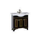 Тумба с раковиной Aquanet Валенса 100 черный краколет/золото