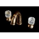 Смеситель для раковины на 3 отверстия CRYSTAL Золото двуручковый Boheme 297-CRST