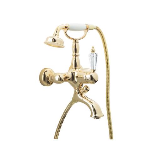 Смеситель для ванны (душевой комплект) Imperiale Ripresa Золото + Swarovski однорычажный Boheme 323