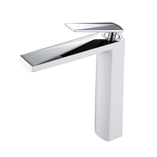 Venturo высокий смеситель для умывальника белый и хром Boheme 372-W