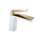 Venturo смеситель для умывальника белый и золото Boheme 381-W