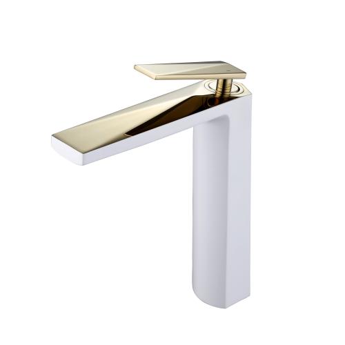 Venturo высокий смеситель для умывальника белый и золото Boheme 382-W