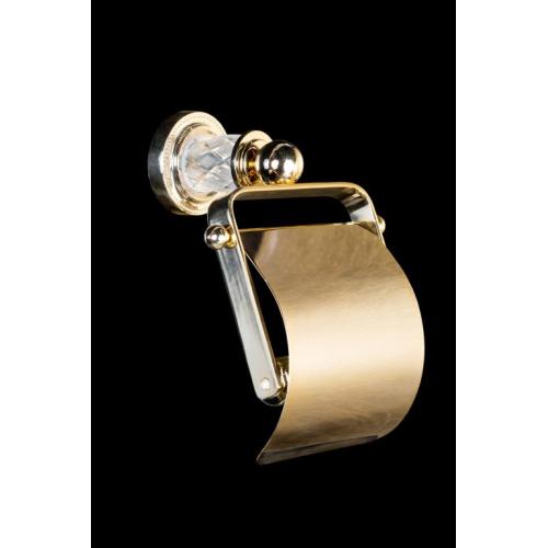 Держатель для туалетной бумаги с крышкой MURANO CRYSTAL Золото Boheme 10901-CRST-G
