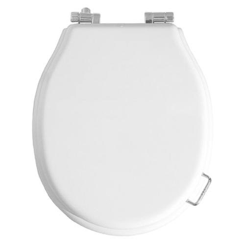 Сиденье для унитаза микролифт белое (петли золото, бронза, хром на выбор) Boheme 555-1b