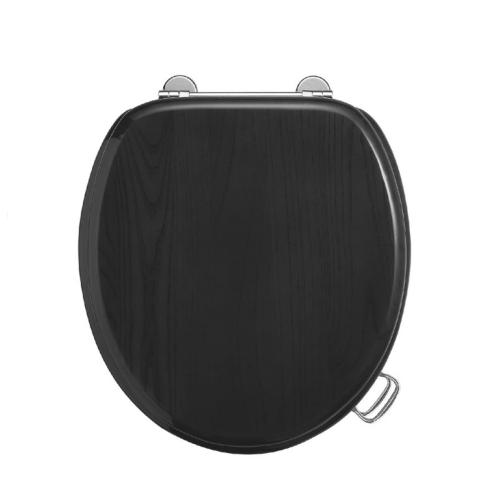 Сиденье для унитаза микролифт черное (петли золото, бронза, хром на выбор) Boheme 555-2b