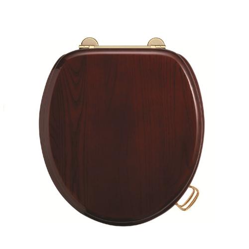Сиденье для унитаза микролифт махагон (петли золото, бронза, хром на выбор) Boheme 555-3b